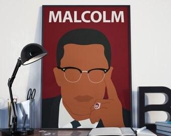 Malcolm X Poster Print // Wall Art, Portrait, Retro Art, Colourful, Minimalist, Civil Rights, Black Lives Matter, Freedom, Protest