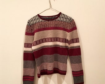 Funky Vintage Patterned Sweater - Womens' - Small