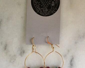 Red & Turquoise Gold Hoop Earrings