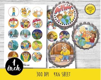 50% OFF SALE 30 Arthur bottlecap- Arthur 1 inch Bottlecap-Printable Image-Arthur collage sheet-Arthur bottlecap- Arthur and dog-Arthur-COD25