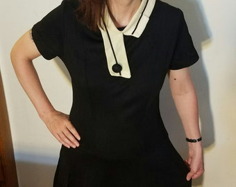 Midcentury Black Artsy Dress With Asymmetrical Collar Button