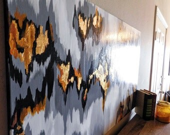 SOLD! Acrylic Abstract Ikat painting / Black, Gray & Gold