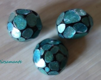 Lot of Dragon Stone blue/green iridescent polymer