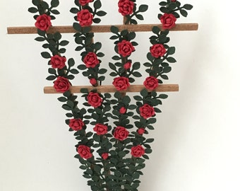 Dollhouse Miniature Red Rose Trellis Artist Made