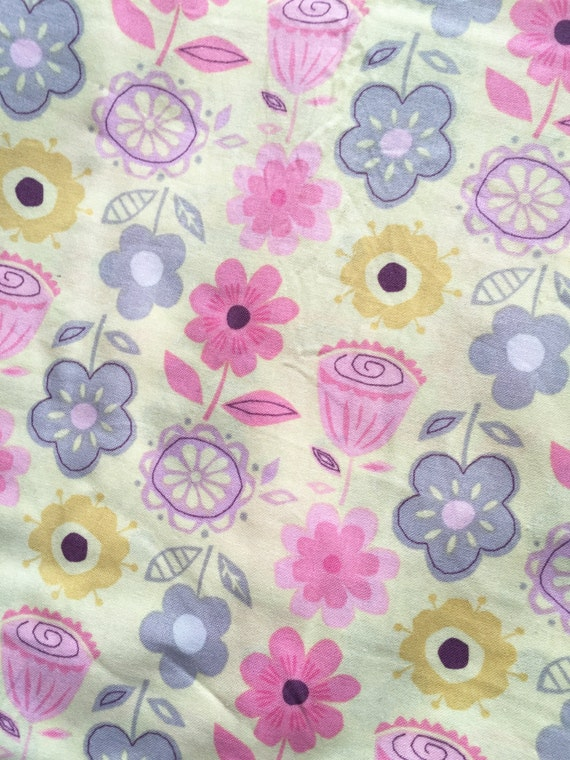 Floral nursery fabric pink purple girl yellow cotton for Yellow nursery fabric