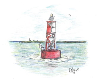 Seagull on Buoy notecards