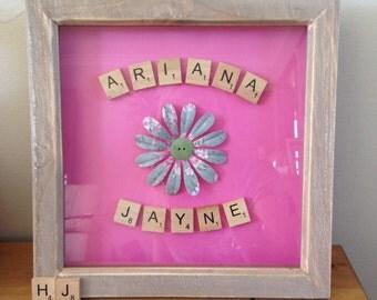 Flower scrabble frame, baby girl, scrabble wall art, flower gift, flower
