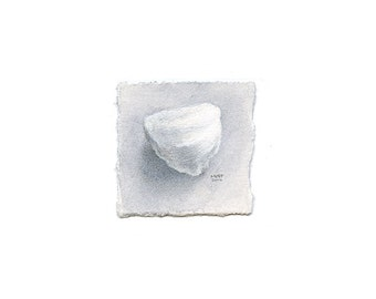 Tiny Realistic Cotton Ball Watercolor Painting