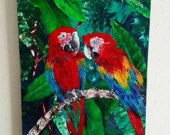 Two Parrots Sitting in a Tree
