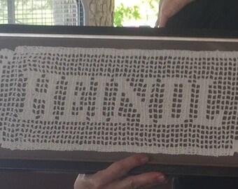 Name in Filet Crochet