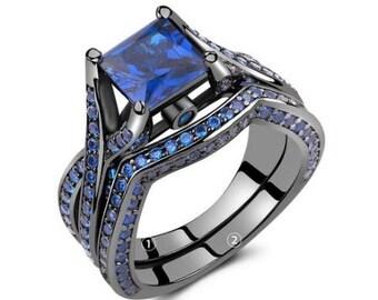 Princess Cut Blue Sapphire Ring  (Sapphire - September Birthstone)