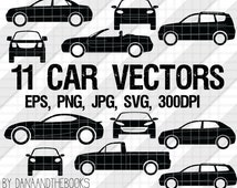 Car and truck Silhouette Vectors png, jpg, eps, svg, Clipart Instant Digital Download for scrapbooking, arts & crafts cars vehicles
