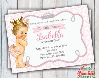 PRINCESS BABY Invitation Party Birthday GIRLS