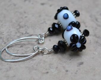 PETAL POWER~~floral lampwork beads & swarovski crystals sterling silver earrings