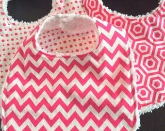 Baby Bibs, Chenille Baby Bibs, Set of 3, Hot Pink Motifs