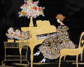Vintage foil painting-- pretty woman at piano