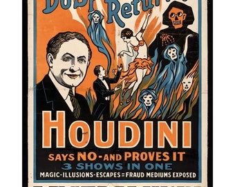 Houdini Poster Print Art - Vintage Magician Print Art - Home Decor - Magic Spirits Theatre - Theater Art - Do Spirits Return