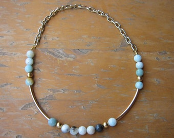 Ocean Amazonite and Mixed Metals Necklace