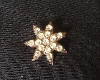 Vintage crystal star pin