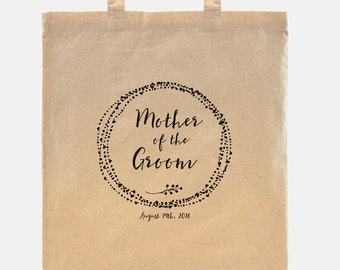 Mother of the Groom gift - Tote Bag - 100% cotton goodie bag customized with your wedding date