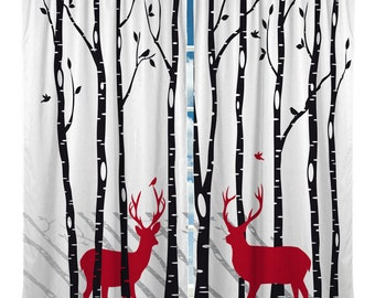 Deers in the Woods, Forest, Buck, Window Curtain.