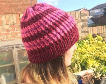 Three-Tone Striped Loom Knitted Hat (Pink/Purple/Burgandy)