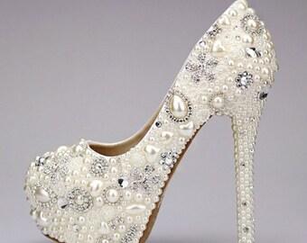 Custom Womens White Wedding Formal Swarovski Crystal Rhinestones & Pearls High Heel Bling Shoes, Pointed Toe, Bridal Bling Shoes