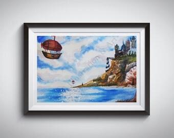14x11 Print   Airship at the Cliffs