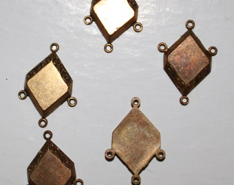 24 Vintage raw brass art deco geometric chandelier connector charms