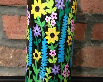 Green painted wine bottle vase