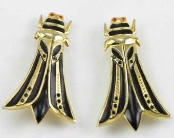 Vintage Butler & Wilson Cicada Rhinestone Statement Earrings - Art Deco Style - Clip Ons