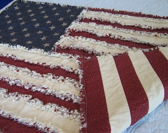 Items Similar To American Flag Rag Quilt Pattern 60 X