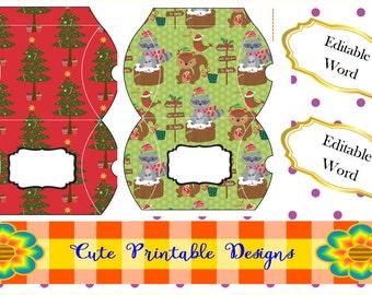 Set Christmas Printable Box- Text Editable en Word- Printable Gift Box, Christmas Box, GBPTD-POPPNAVI-98