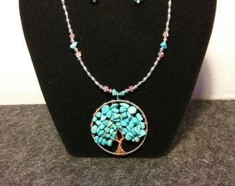 Turquoise Tree of Life Necklace and Earrings set
