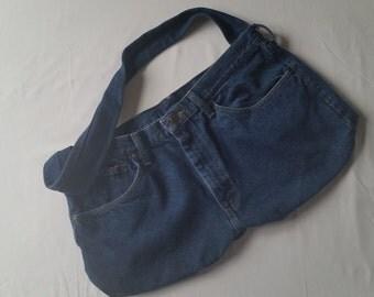 Upcycled Blue Denim purse, handbag, tote