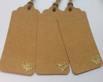 Favor Tag/Favour Tag/Gift Tag. Golden Heart. Kraft Tag. Pack of Twelve.