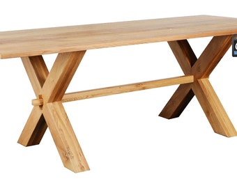 X Leg Oak Country Table : Seats 8