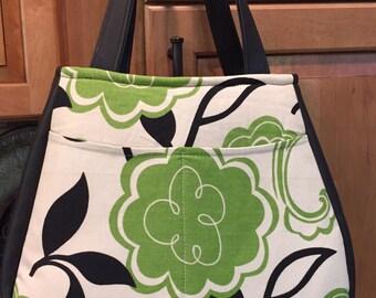 Floral and black vinyl Ethel Swoon handbag