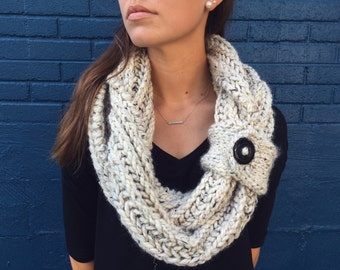 Chunky Infinity Scarf with Removable Button Cuff