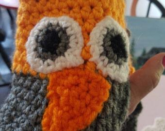 Hand Crocheted Fingerless Owl Gloves