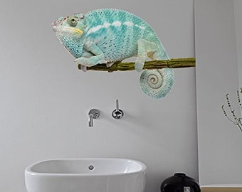 Photo-realistic Blue Chameleon Wall Decal Sticker Mural, Statement Decor Item, Ideal for ANY Room of Home or Office