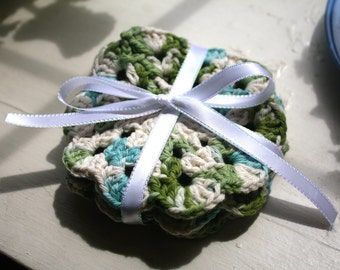 Set of 4 Crocheted Coasters- Meadow Greens