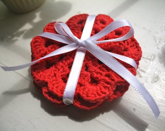Set of 4 Crocheted Coasters- Red