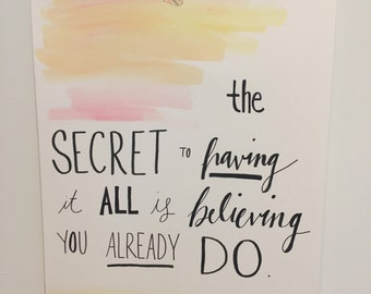 Having it All - Watercolor Quote Print - Word Art