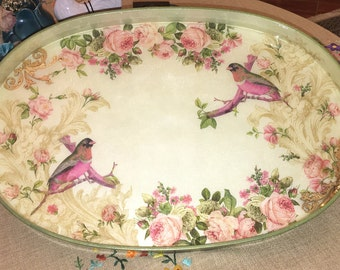 Hand painted mixed media tray