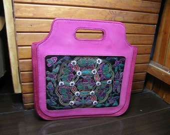 embroidered/Totes/hand bag/ purse/pink effect/leather purse/free shipping