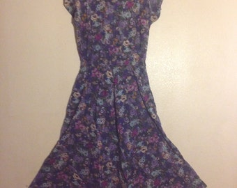 women blue pink floral dress