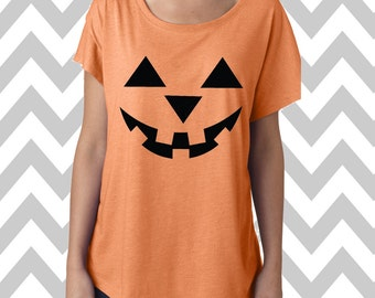 Pumpkin Face Jack-O-Lantern Dolman Off the shoulder flowy tee Halloween Party Tee Jack-O-Lantern Womens Halloween Funny Halloween Shirt