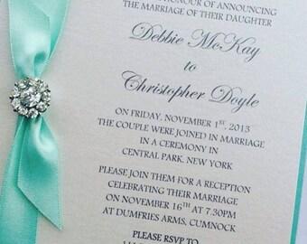 Tiffany Inspired Wedding Invitation, Crystal Invitation, Double layered Invite