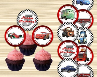 Cars Cupcake Toppers. Cars Cake Toppers. Cars Tag. Diy Cars Birthday Party. 2 inch Circle.